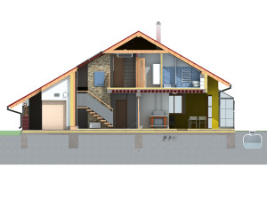 Front view of house in section on white background.